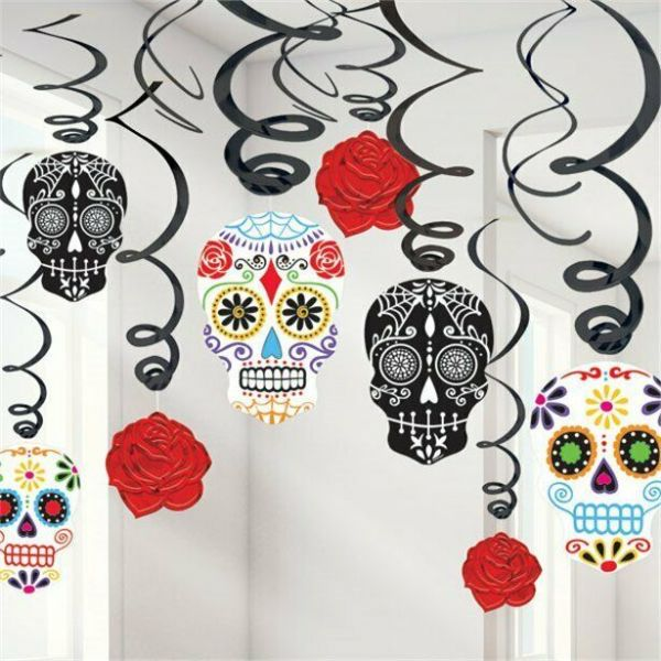 Halloween Day of the dead hanging swirls (30 pk)